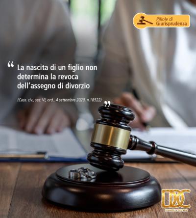 La nascita di un figlio non determina la revoca dell'assegno di divorzio